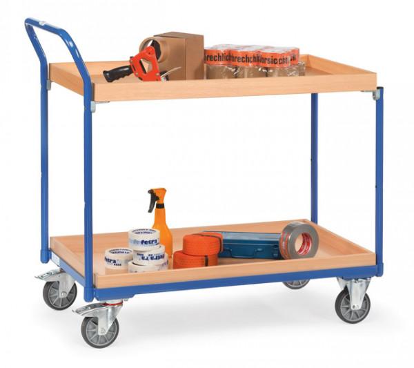 Fetra Tischwagen 3762 Ladefläche 1.000 x 600 mm 300 kg mit 2 Kästen aus Holz Griff hochstehend