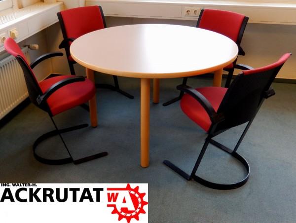 5-teiliges Büromöbel Set Besprechungsecke Rundtisch Büroausstattung Stühle Büro