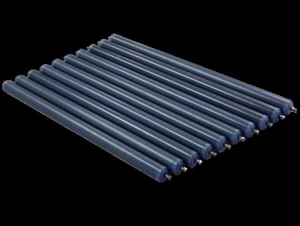 10 Kunststoff-Tragrollen RL 495 mm Förderrolle Ø 30 mm Federachse Rollenbahn