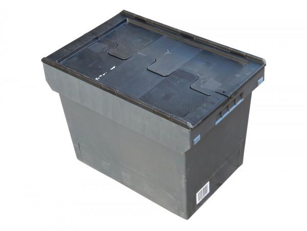 Stapelbehälter Kasten Kiste Box grau schwarz mit Deckel