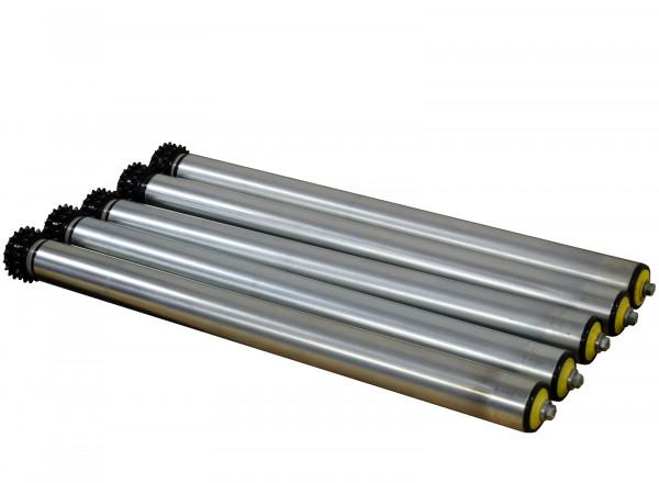Stahl verzinkt 5x Rollenbahn Tragrolle Ø 50 mm Doppel-Kettenrad RL 390 mm