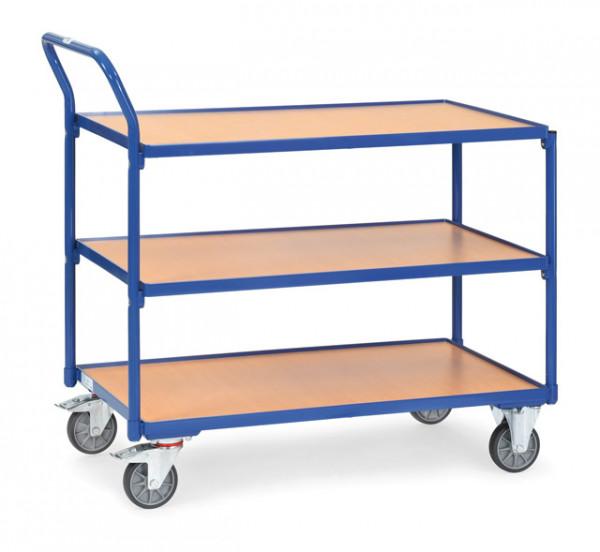 Fetra Tischwagen 2752 Ladefläche 1.000 x 600 mm 300 kg mit 3 Böden aus Holz Griff hochstehend