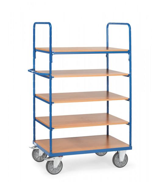 Fetra Etagenwagen 8342 Ladefläche 1.000 x 700 mm 600 kg mit 5 Böden aus Holz Höhe 1800 mm