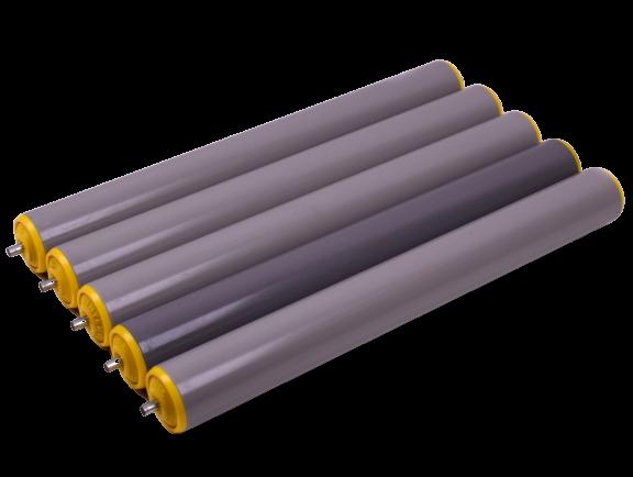 5x Tragrollen für Rollenbahn Interroll Ø 50 mm, Länge 440 mm, Kunststoff, Federachse