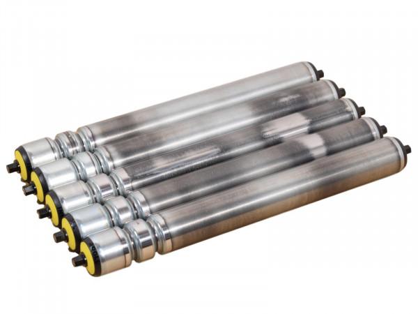 5x Tragrolle für Rollenbahn Interroll RL 440 mm Stahlrolle Sicke Ø 50 mm Transportrolle