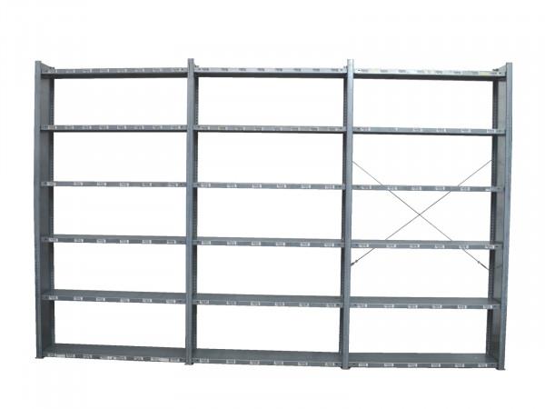 H2540 T290 L4000 Meta Clip Fachbodenregal 3 Felder Lagerregal Metallregal