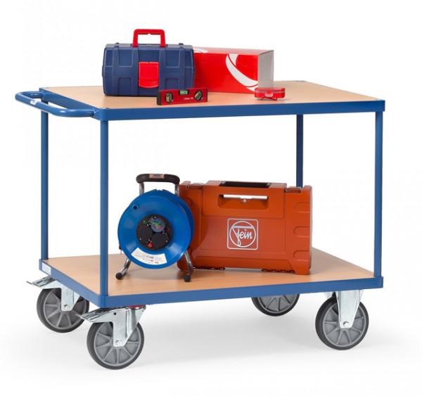 Fetra Tischwagen 2400 Ladefläche 850 x 500 mm bis 600 kg mit 2 Böden aus Holz