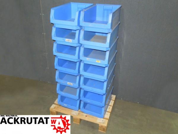 14 Sichtlagerkästen SSI Schäfer LF 532 blau Kasten Box Behälter Lagerkasten