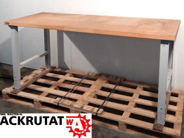 Rau Arbeitstisch Montagetisch höhenverstellbar Massivholzplatte ...