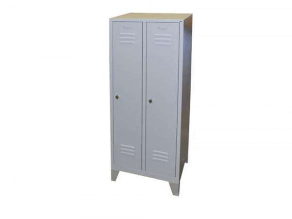 Stahlspind Garderobenschrank 1850x610x500 mm (HxBxT), 2 Abteile, Stahlblech grau, Lüftungsschlitze