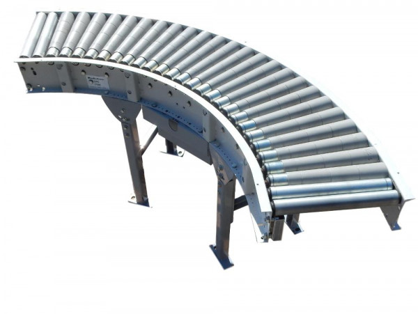 Rollenbahnkurve 90° Förderkurve angetrieben Breite 430 mm Kurvenförderer 0,55 kW