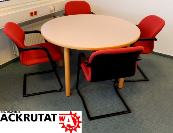 5-teilige Büroausstattung Büromöbel-Set Besprechungsecke Rundtisch Stühle Büro