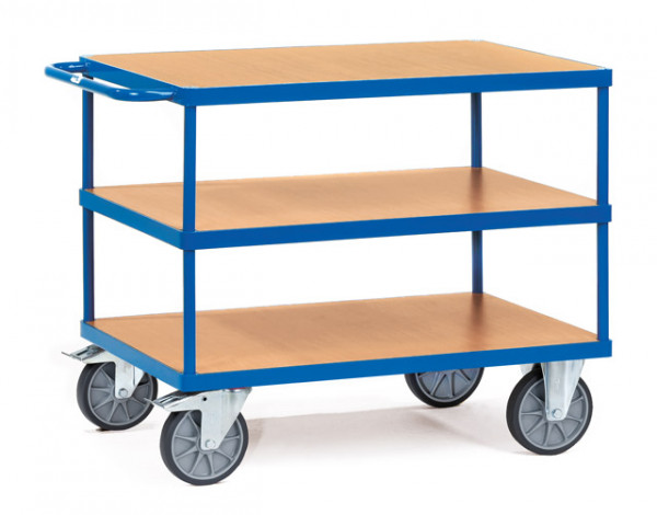 Fetra Tischwagen 2422 Ladefläche 1.000 x 700 mm bis 600 kg mit 3 Böden aus Holz