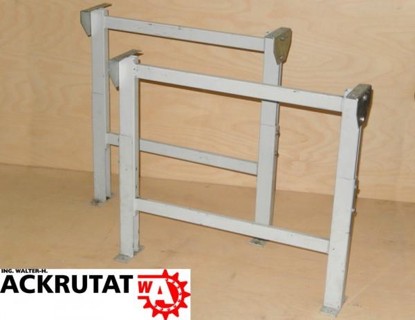 2 weiße Ständer Rollenförderer Untergestell Fuß Stützböcke Stützfuß