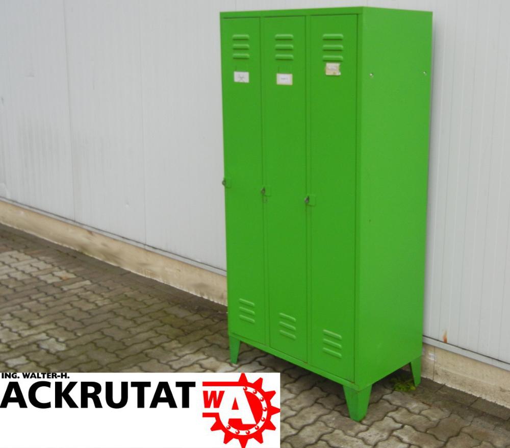 Kleiderspind 3 türig grün Schrank Metall Garderobenschrank Metall ...