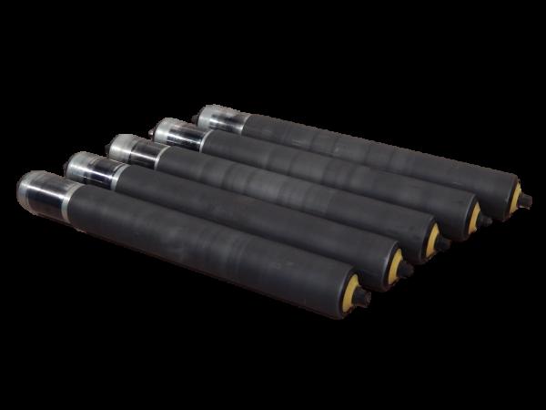 5 gummierte Interroll Tragrollen L430 Förderband Rolle Normrolle Gummi Mantel