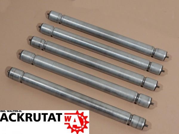 5 St Universalförderrolle Rollenbahn RL 600 mm Stahl Sicken-Tragrolle Federachse