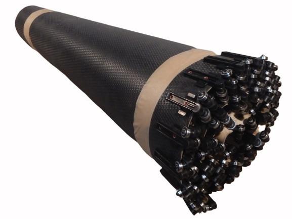 Gitternetzgurt 90° Kurve Fördergurt Gitterstruktur-Kurvengurt B 990 mm Rollen