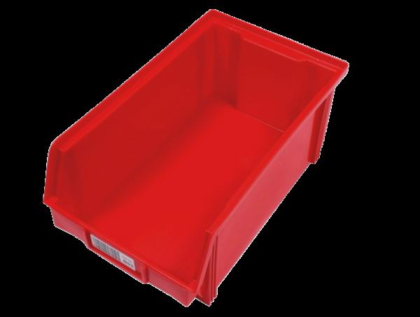 6x BRB Sichtlagerkästen 205 x 340 x 145 mm (BxTxH), rot, stapelbar, 7 l Volumen