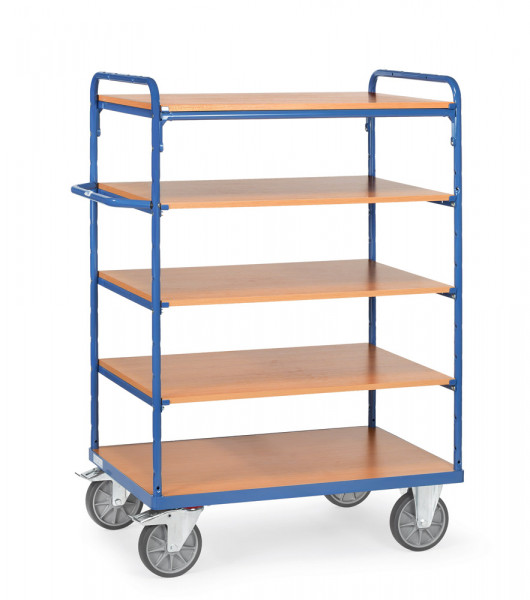 Fetra Etagenwagen 8241 Ladefläche 1.000 x 600 mm bis 600 kg mit 5 Böden aus Holz