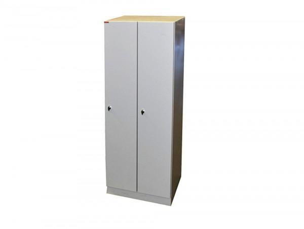 Spind Garderobenschrank 1800x590x500 mm (HxBxT), grau, Sockel, Stahlblech, Kleiderstange, Hutablage