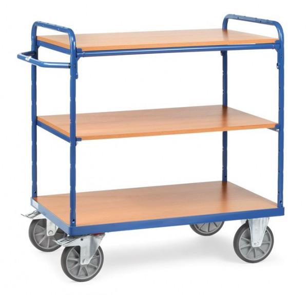Fetra Etagenwagen 8102 Ladefläche 1.000 x 700 mm bis 600 kg mit 3 Böden aus Holz