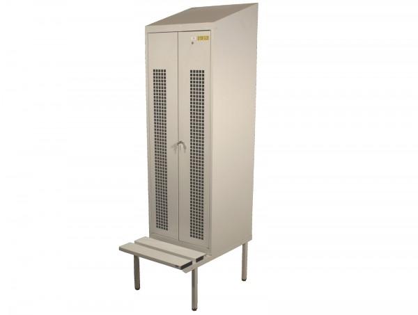 Spind Garderobenschrank 2230x610x800 mm (HxBxT), Sitzbank, Luftlöcher, Hutablage, 2 Abteile, Stahl