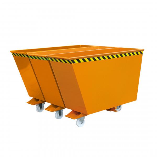 Kippbehälter Sortiersystem 2025 in orange lackiert mit 3 Fraktionen