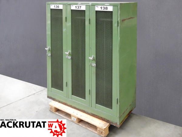 3er Spind Umkleidespind 3 Abteile Abstellschrank Gitterschrank grün ...