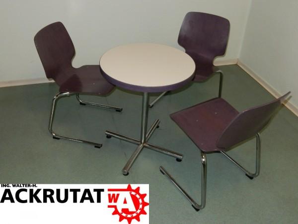 3er-Sitzgruppe Kantinentisch Stuhl Tisch Cafeteria Kantine Bistrotisch Set