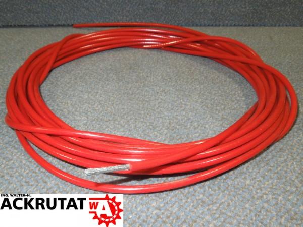50m Zugseil 3/5 mm Drahtseil Seil PVC-ummantelt rot Notausleine ...