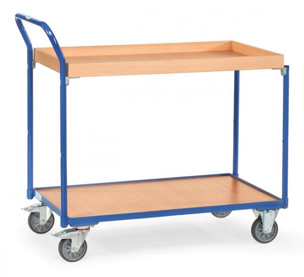 Fetra Tischwagen 3740 Ladefläche 850 x 500 mm 300 kg mit 1 Boden +1 Kasten aus Holz Griff hochstehen
