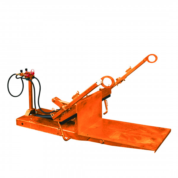 Eichinger Mülltonnenkipper hydraulisch für Müllgroßbehälter 2094 in orange lackiert