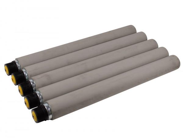5x Tragrollen für Rollenbahn Interroll Ø 50 mm, RL600 mm verzinkt, grau gummiert