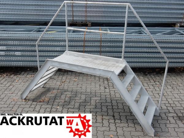Podestleiter Brückenleiter Stufen Stahlleiter Höhe 2000 mm Podesttreppe Brücke