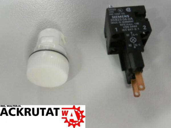 Siemens 2 Stück Leuchtmelder weiß mit Glühlampe 24 V 3SB22 24-6BG06