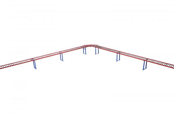 Schwerkraftrollenbahn 6xRollenbahnelemente L2000mm 1xSchwerkraftkurve 90° L900