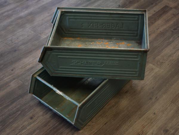 2x Vintage-Retrokiste Schäfer Metallkiste Ladendekoration Shabby-Dekokiste