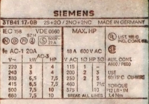 Siemens Schütz Contactor 3TB41 17-0B 18 A 600 V AC 2S + 2Ö / 2NO + 2NC