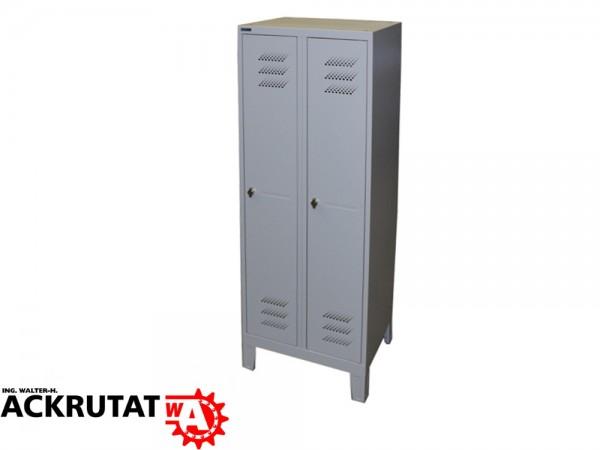 Spind Garderobenschrank 1850x600x505 mm (HxBxT), Design Luftschlitze, Stahlblech, grau, Schloss