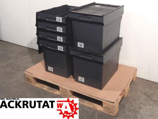 5 St. Bito MB 6442 Lagerkasten Deckelbox Industriebox grau mit schwarzem Deckel