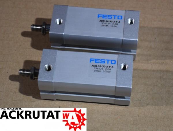 2x Festo Zylinder ADN-16-30-A-P-A Kompaktzylinder Hub 536224 Pneumatik 10 bar