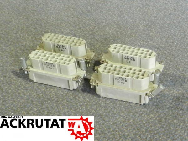 4 Kontakteinsätze Contact H-D 25 B 25 pol. 10A Steckverbinder Industrie