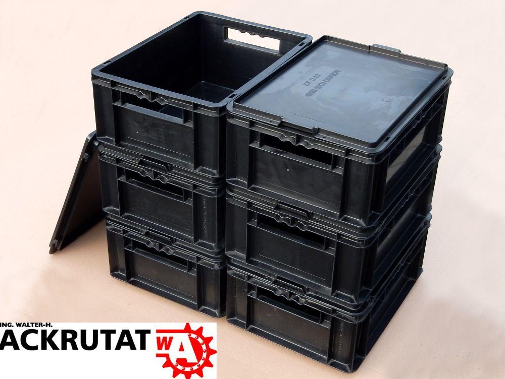 6 stapelkisten sch fer ef 4170 mit deckel stapelbox lagerkasten lagerbox schwarz ebay. Black Bedroom Furniture Sets. Home Design Ideas
