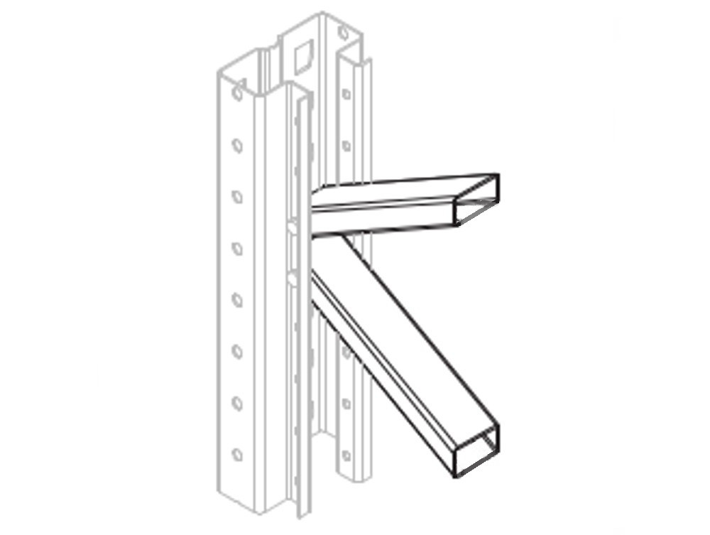 2 dexion p90 palettenregal diagonale 1100 600 fachwerk for Fachwerk strebe