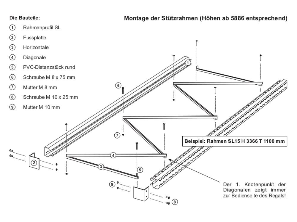 2 slp palettenregal diagonale fachwerk strebe sprosse for Fachwerk strebe